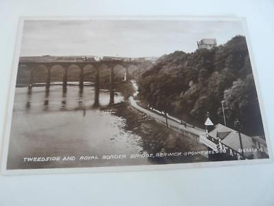 tweedside & royal border bridge  berwick  on tweed  vintage postcard scotland