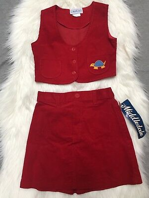 Vintage Deadstock Girls Size 6 Vest Skirt Outfit Set Red Corduroy Turtle