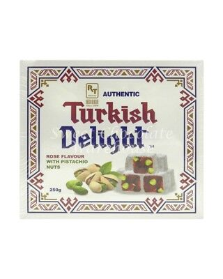 Turkish Delight Rose Flavour with Pistachio Nuts 250g
