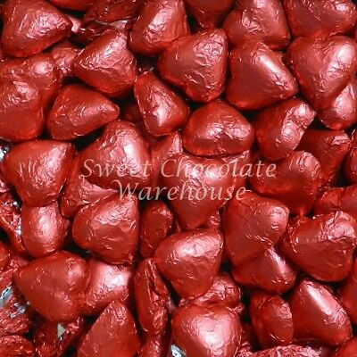 Milk Chocolate Hearts - Red 1kg Valentines Day Chocolate