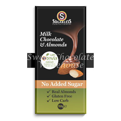 Sugarless Stevia Milk Chocolate & Almonds 150g