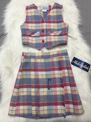 Vintage Deadstock Girls Size 6 Vest Skirt Set Outfit Plaid