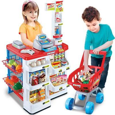 Kids Supermarket Shop Grocery Pretend Toy Trolley Play Set Light Sound Play Gift