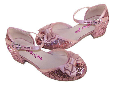 Girls kids dusky pink glitter sparkly party heeled shoes bridesmaid flower girl