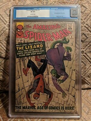 Amazing spider-man #6, First appearance of the Lizard, CGC 8.0 OW   Lee / Ditko