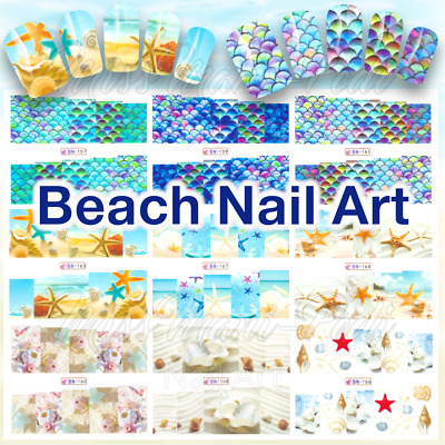 Mermaid Scales Nail Decals, Water Decals, Nail Stickers Beach Nails, Summer Fish