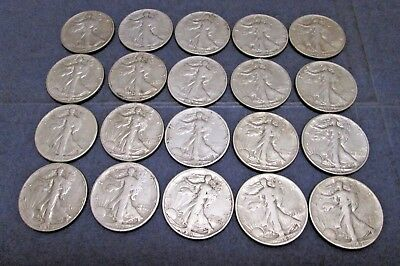 20 Walking Liberty Half Dollars - 90% Silver Coins - Mixed Dates