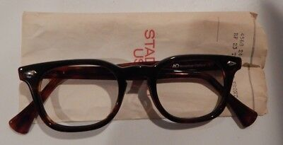 Vintage AUTHENTIC American Optical Stadium Amber 48/24 Eyeglass Frame NOS