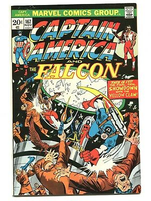 1973 Marvel Captain America #167 Falcon Yellow Claw Very Fine+ D5