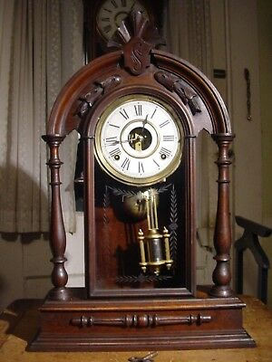 "Antique Rare Gilbert 1881 ""texas"" 8 Day Black Walnut Shelf Clock Working Well"
