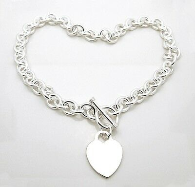 Sterling Silver Rollo Link Toggle Necklace with Engraveable Heart