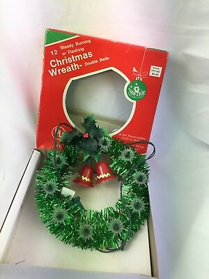 Vintage 12 Light Christmas Wreath Double Bell