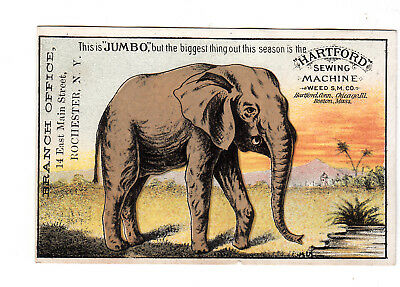 Hartford's Sewing Machine Weed SM Co Jumbo Elephant Rochester NY Card c1880s
