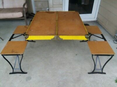 Vintage Handy Folding Picnic Table And Chair Set Metal 1950/1960's Milwaukee