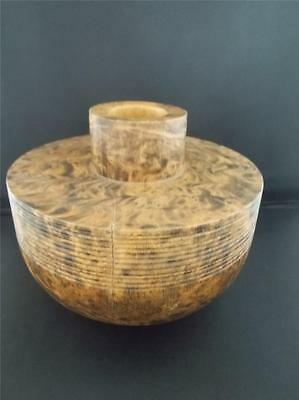 Vtg Carved Turned Wooden Vessel Hollow narrow neck Burr Wood Middle Eastern VGC