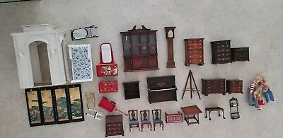 Vintage doll house furniture and accessories, including hand-crafted items