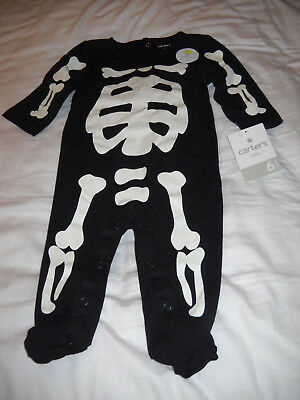*NEW* Carter's Infant Boys' Black Glow-in-the-Dark Skeleton Sleep and Play