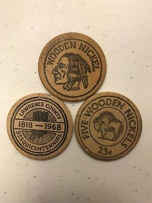 Wooden Nickel Lot Of Three
