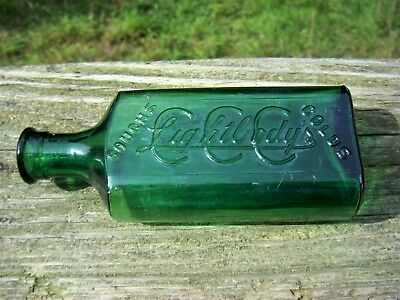 Antique CCC LIGHTBODY'S COUGH & COLDS & CROUP Mold Blown Emerald Green Bottle