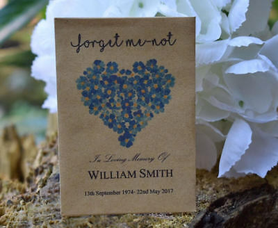 150 Funeral Favour Personalised Seed Packets|Forget Me-not Remembrance(unfilled)