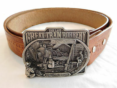 Vintage The Last Great Train Robbery Ashland Oregon Belt Buckle Railroad