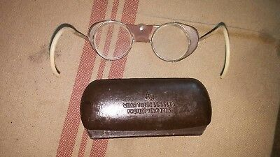 Vintage AO Safety Glasses and Case 1940s w/ Leather Steampunk