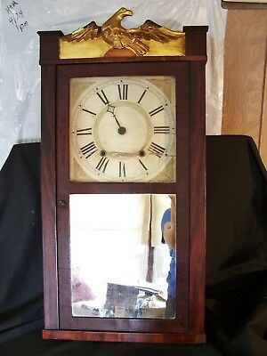 RARE Antique Eli Terry Tall Mirrored Wall Clock CT c1825 Wooden Works Signed