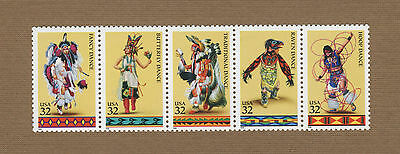 Scott #3072-76 American Indian Dances 32c (Strip of 5) 1996 Mint NH