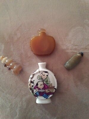 Chinese Snuff Bottles Lot of 4 with Jade and more