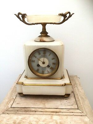 Antique French White Marble Onyx Ormolu Striking Mantel Clock Spares Repairs