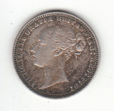 1878 Great Britain Queen Victoria Silver Sixpence.  DIE # 6