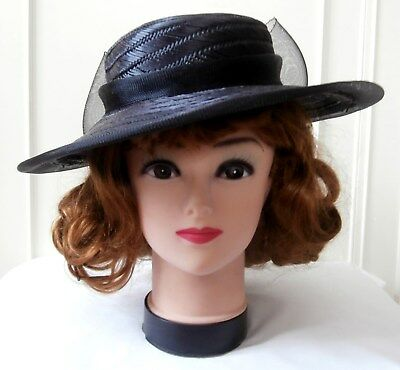 Vintage Late 1980's Black Straw & Nylon Mesh Picture Hat by Yessica at C&A