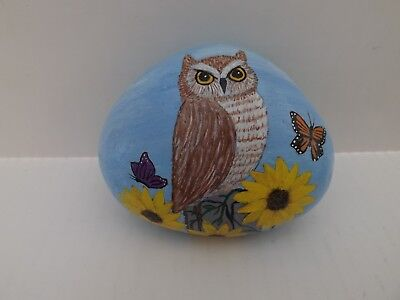 Hand Painted Rock Art Owl  and Sunflowers
