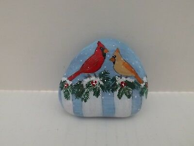 Hand Painted Rock Art Cardinal Birds Sitting on a White Fence Winter Snow