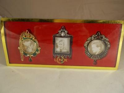 Lenox Vintage Jewel Set Of 3 Picture Frame Ornaments New In Box