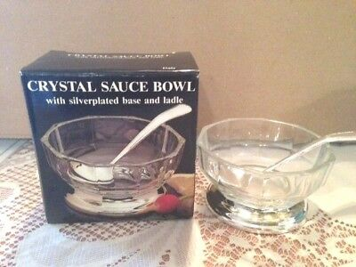 Silver Plated And Crystal Sauce Bowl And Spoon Italian Glass, Free Shipping