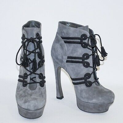 48587e6027c YVES SAINT LAURENT YSL Gray Suede High Heel Ankle Boots Lace Up Round Toe  US 8