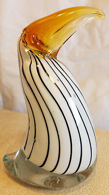 "Blown Glass Bird White with Black Stripes Figure Multi Color 6.25"" Tall 4"" Long"