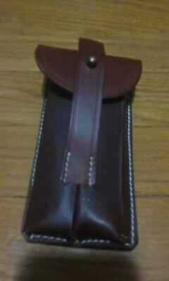 New LUGER P08 PISTOL DUAL MAGAZINE LEATHER HOLSTER POUCH C295