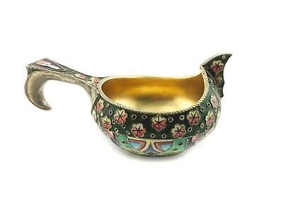 A Small Antique Russian 6th Artel Silver Gilt & Shaded Cloisonne Enamel Kovsh