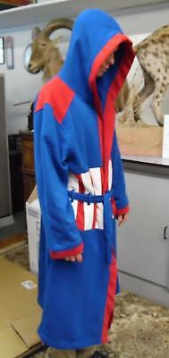 NEW MARVEL Captain America Blue Red Hooded Super Hero Bath Robe Size S/M