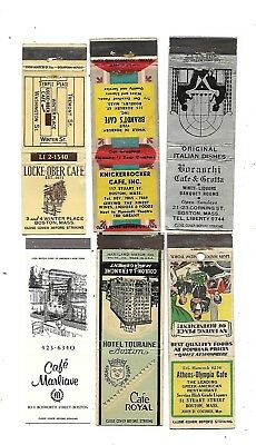 6 Boston, Massachusetts Cafe Matchcovers