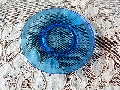 Vintage Akro Agate Blue Saucer~Child's Toy Tea Set~Good Condition! Stippled Band