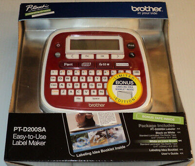 Brother P-touch Easy-to-Use Label Maker PT-D200SA w/ Bonus Tape ~ RED ~ FreeShip