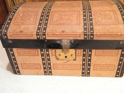Antique Doll Chest Camelback Trunk With Original Paper And Tray