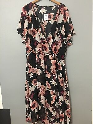 Charlotte Russe Plus Size 2x 16 18 Floral Short Sleeve Sheer Layers