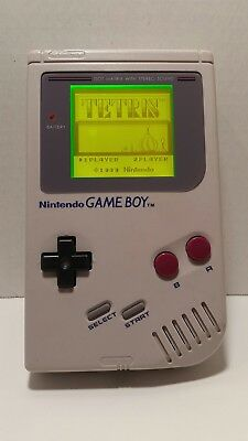 NINTENDO GAMEBOY DMG-01 with Yellow Backlight Bivert Glass Screen & Tetris