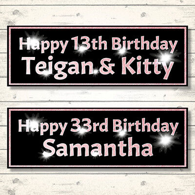 2 Personalised Rose Gold Effect Sparkle Birthday Banners - Any Name/Any Age