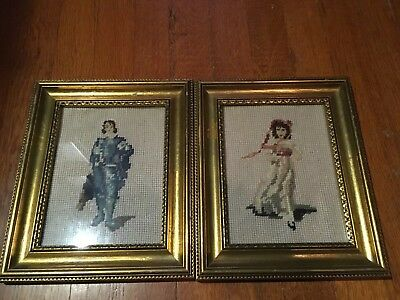 Vintage Pinkie And Blue Boy Completed Cross Stitch In Gold Frames
