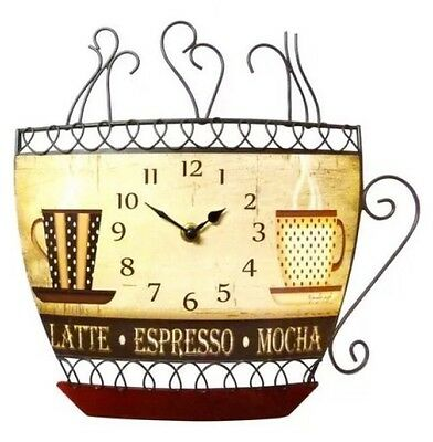 Metal Coffee Cup Wall Clock Kitchen Cafe Coffee Shop